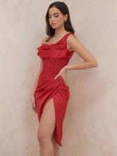 Solid Color Off Shoulder High Split Sexy Dress