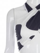 Cow Print Halter High Waist Two Piece Pants Set