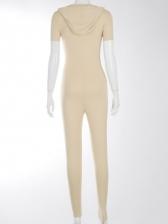Hooded Collar Zipper Up Short Sleeve Jumpsuit