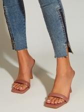 Euro Square Toe High Heel Ladies Slippers