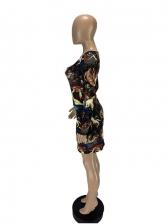 Vintage Square Neck Long Sleeve Bodycon Dress