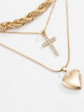 Punk Style Simple Cross Heart Pendant Necklace