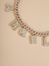 Vintage Full Rhinestone Letter Angel Necklace