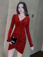 Irregular Print V Neck Short Dress