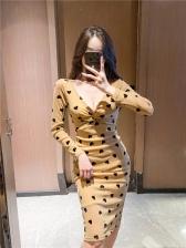 New Heart Print Long Sleeve Dress