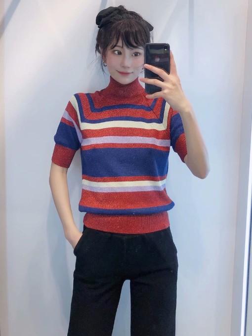 Mock Neck Short Sleeve Striped Sweater
