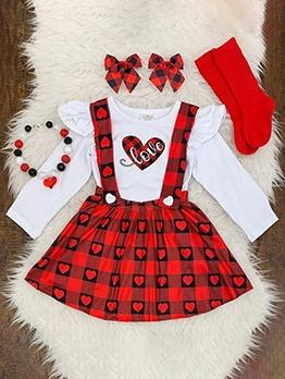 Red Plaid Heart Print Girls Suspenders Skirt Set