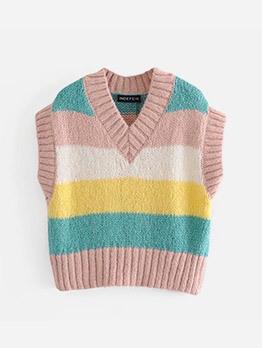 Euro V Neck Contrast Color Striped Sweater Vest