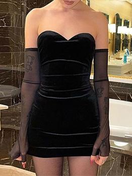 Off Shoulder V Neck Fitted Black Bodycon Dress