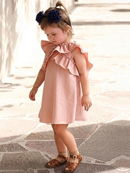 Ruffled Pure Color Casual Dress For Kids