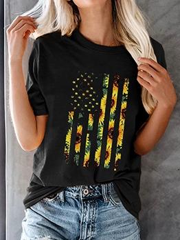 Creative Sunflower Flag Print Short Sleeve Tee Shirts