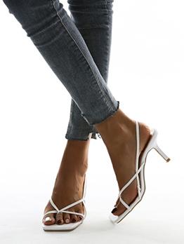 Trendy Square Toe Slip On Heel Sandal