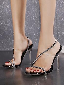 Euro Rhinestone High Heel Square Toe Sandals