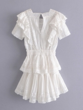 Square Neck Short Sleeve White Tiered Dress