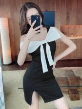 Bow Decor Short Sleeve Bodycon Party Dress