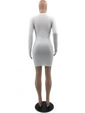 Club Solid Skinny Long Sleeve Mini Dress