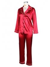 Stitching Color Edge Satin Loungewear Two Piece Set