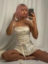 Chic Lace-Up Design Short Sleeveless Dress
