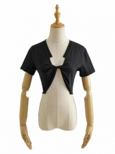 Front Twisted Solid Ladies T Shirts