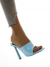 Fashion Square Toe Heeled Women Slippers