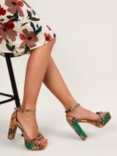 Snakeskin Printed High Heel Platform Sandals