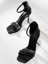 Chic Square Toe Solid Heel Sandal