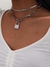 Simple Lock Shape Create Layered Necklace