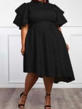 Striped Design Ruffled Sleeve Plus Size Dress