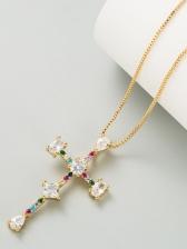 Trendy Rhinestone Cross Pendant Necklace