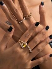 Vintage Rhinestone Casual Ring Sets