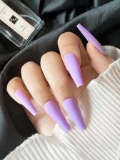 Light Purple Matte Long False Nail Patch