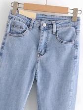 Korea Solid High Waist Denim Jeans