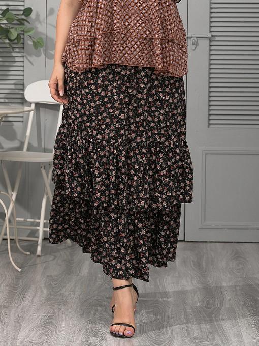 Chiffon Floral Printed Plus Size Skirt