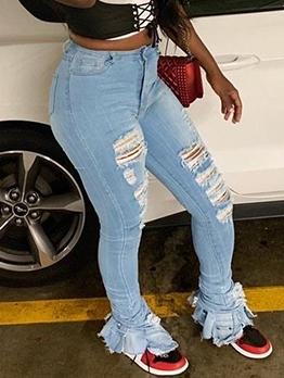 Chic Split Hem Ripped Bootcut Jeans