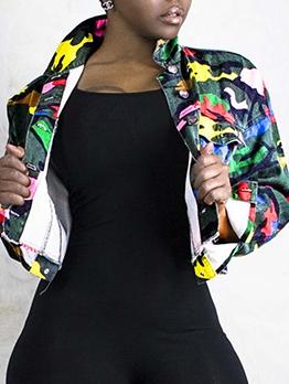 Streetwear Colorful Camouflage Loose Denim Jacket