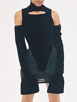 Sexy Black Cold Shoulder Dress