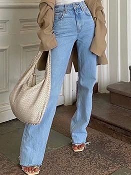 Stylish Raged Hem Women High Waisted Jeans