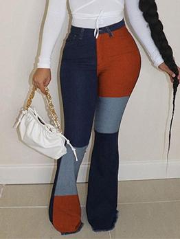Contrast Color Casual Bootcut Denim Jeans