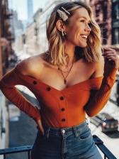 Single-Breasted V Neck Long Sleeve T Shirt