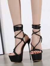 Roman Style Lace-Up Heeled Platform Sandals