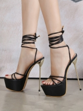 Party Lace-Up Stiletto Platform Sandals