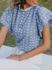 Stylish Printed Ruffled Short Sleeve Blouse