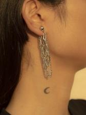Punk Metal Long Tassel Earrings Women