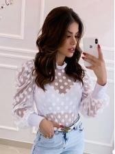 Sexy Dot Gauze Puff Sleeve Blouse