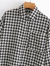 Spring Houndstooth Long Sleeve Blouse