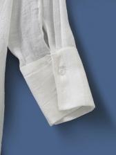 Korea White Long Sleeve Shirt Dress