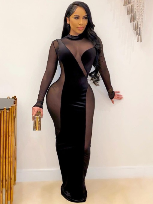 Sexy Velvet Panel Perspective Long Sleeve Maxi Dress