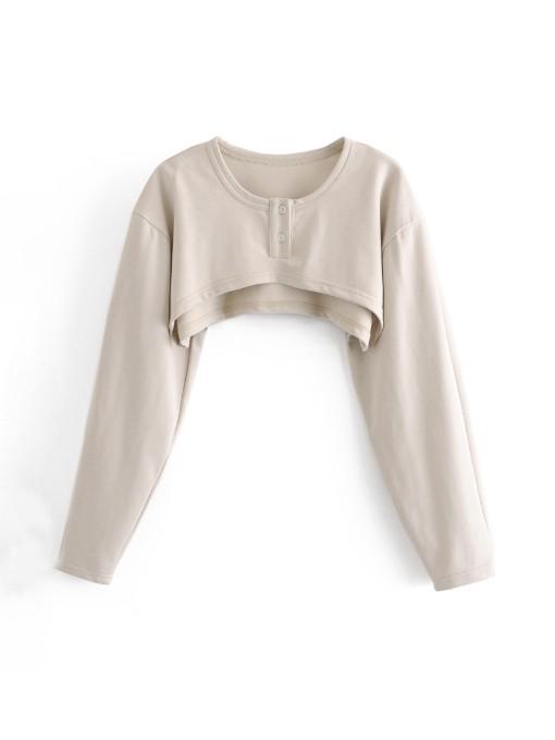 Plain Long Sleeve Crop Tops For Women