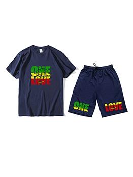 Summer Letter Short Sleeve 2 Piece Sets