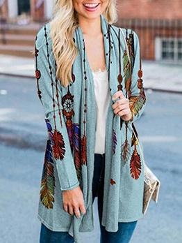 Casual Printed Long Sleeve Women Cardigan